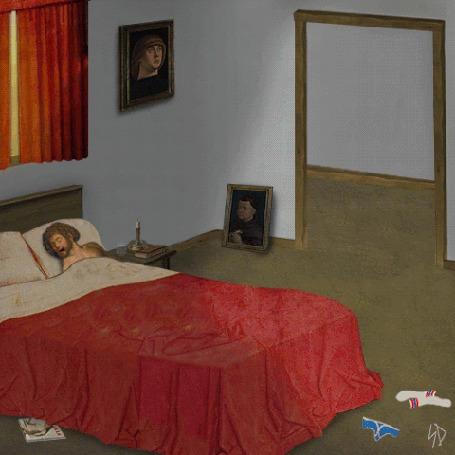 Анимация Большая чашка кофе заходит в спальню и забирает мужчину с кровати