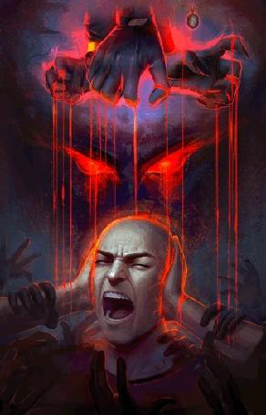Анимация Кричащий мужчина, управляемый как марионетка несколькими руками, связанными с ним кровавыми нитями, к которому тянутся и хватают его множество рук, закрывает уши руками, арт по мотивам фильма Сплит / Split by AyyaSAP