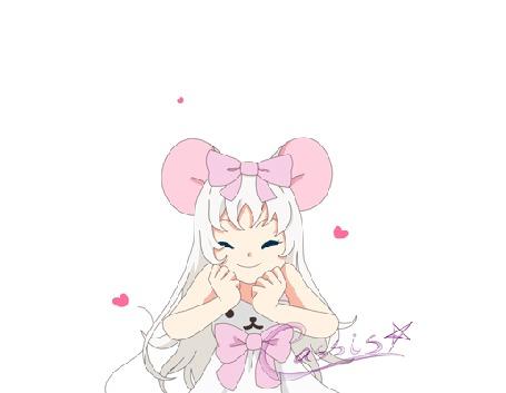 Анимация Белокурая девушка с ушками и бантиком на фоне сердец, by a-k-a-Cassis