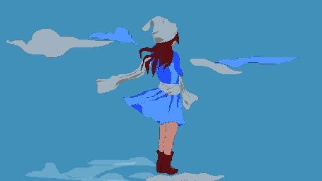 Анимация Девушка в шапочке, сапожках стоит на фоне облаков, by breecolors