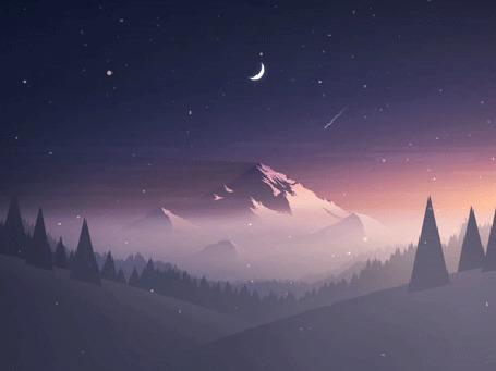 Анимация Падающий снег на горы и холмы с деревьями