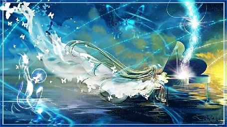 Анимация Vocaloid Hatsune Miku / Вокалоид Хатсунэ Мику играет на рояле