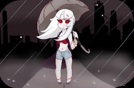 Анимация Белокурая девушка с алыми глазами держит зонт на фоне дождя, by LolzNeo