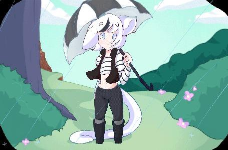 Анимация Белокурая девушка с ушками держит зонт на фоне дождя, by LolzNeo