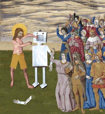Анимация Спарринг - бокс с роботом в средневековье