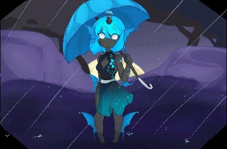 Анимация Фантастическая девушка держит зонт на фоне дождя, by LolzNeo