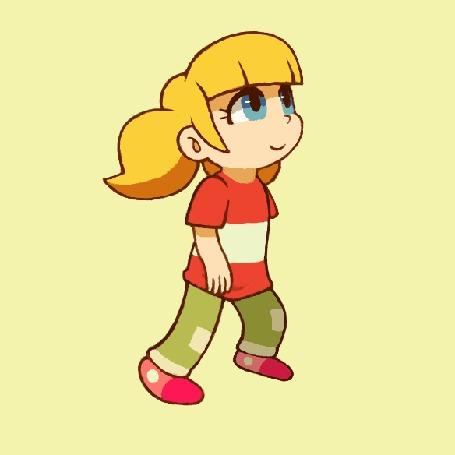 Анимация Светловолосая и голубоглазая девочка, by Cortoony
