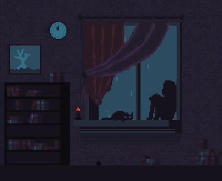Анимация Девочка с котом сидят на подоконнике окна и смотрят на грозовую дождливую погоду