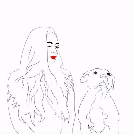 Анимация Рисованные девушка и пес рядом