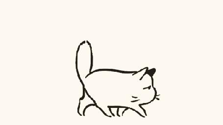 Анимация Кот укладывается спать и тут же к нему пристраивается котенок, но коту это не особенно нравится