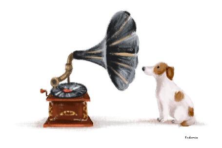 Анимация Собака слушает пластинку на граммофоне, из раструба которого выглядывает кот и показывает собаке язык, by Natalia Kulakova