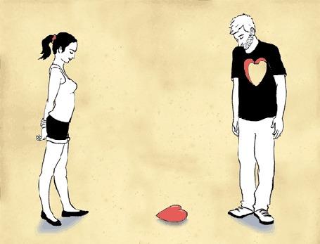 Анимация Мужчина дарит своей девушке свою любовь в виде сердца, но она безжалостно растапливает его