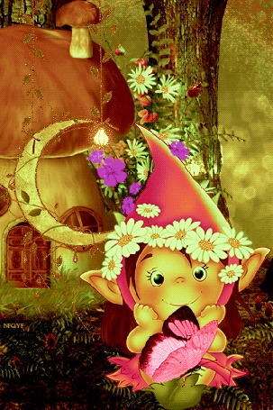 Анимация Гномик в ночном колпаке с ромашками стоит рядом с месяцем и смотрит на бабочку