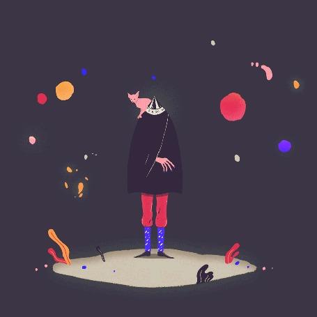Анимация Кошка сфинкс сидит на фокуснике, укрытого черным плащом, вокруг которого происходят чудеса с летающими разноцветными огоньками