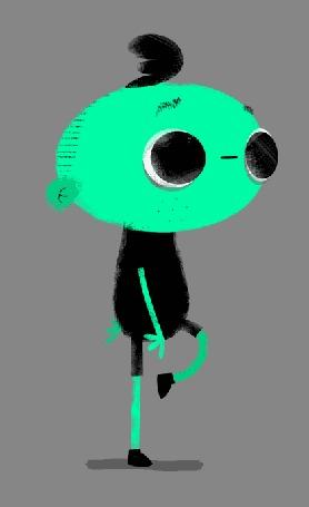 Анимация Человечек с большой зеленой головой шагает по серому фону