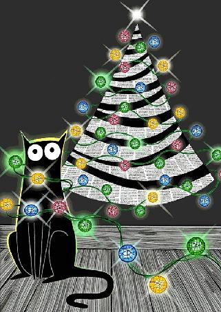 Анимация Черный кот сидит у новогодней елки, by scratchproductions