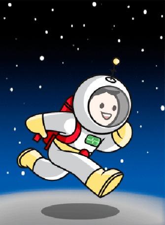 Анимация Космонавт бежит по Луне