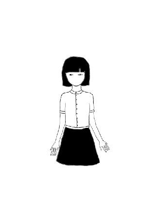 Анимация Девушка снимает голову и появляется растение