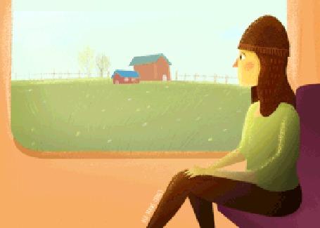 Анимация Девушка сидит у окна поезда и наблюдает за пробегающим за окном пасторальным пейзажем