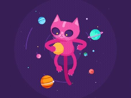 Анимация Розовый кот жонглирует планетами