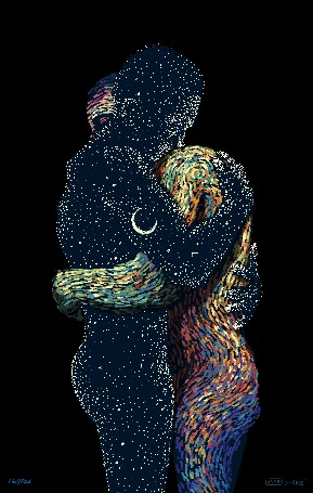 Анимация Парень и девушка обнимаются, by James R. Eads