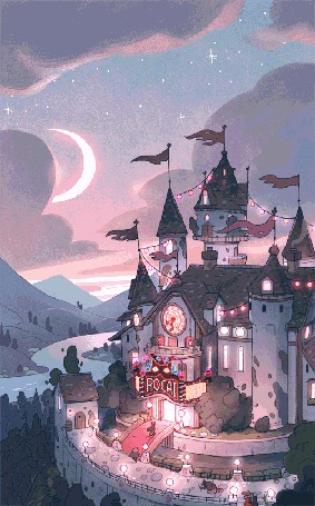 Анимация Замок с вывеской (Rocat) и мигающими лампочками, by Matt Rockefeller
