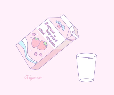 Анимация Клубничный йогурт наливается в стакан (Strawberries and cream / Клубника и крем)