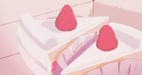 Анимация Женская рука берет кусочек торта