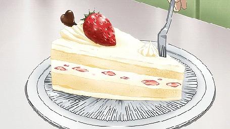 Анимация Рука вилочкой надрезает кусочек торта