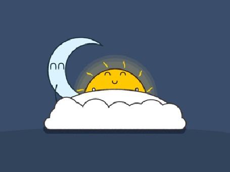 Анимация Лунный серп пытается безуспешно разбудить солнышко