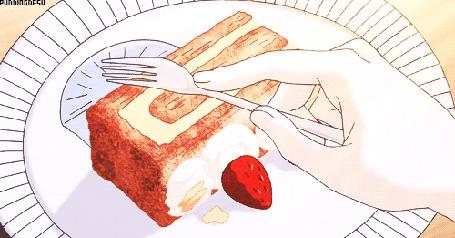 Анимация Кусочек торта режут вилкой
