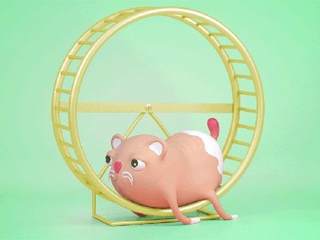Анимация Усталый хомяк лежит на колесе
