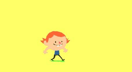 Анимация Смешная рыжая девчонка с косичками бежит, припрыгивая