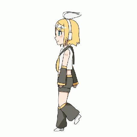 Анимация Вокалоид Кагамине Рин / Vocaloid Kagamine Rin на белом фоне, by grimay