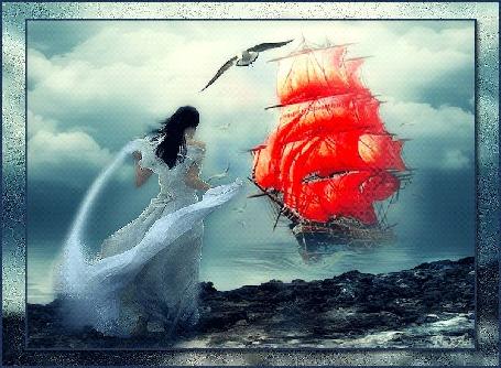 Анимация Девушка стоит на берегу и смотрит на приближающийся корабль