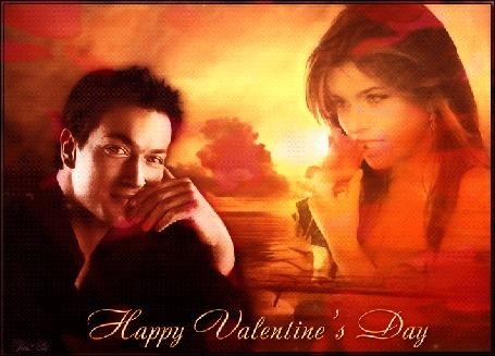 Анимация Девушка с розой на фоне моря и неба, рядом сидит парень (Happy Valentines day / счастливый день святого Валентина), by Tim2ati