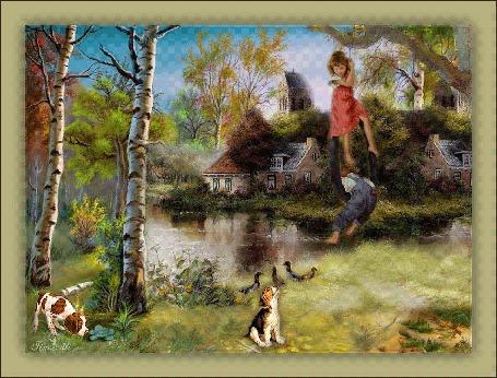 Анимация В деревне на качеле, by Tim2ati