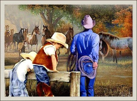 Анимация Мужчина ковбой с детьми на лошадином пастбище, by Tim2ati