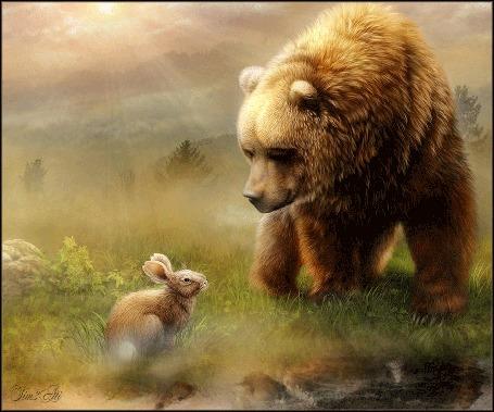 Анимация Медведь с зайцем на поляне, by Tim2ati