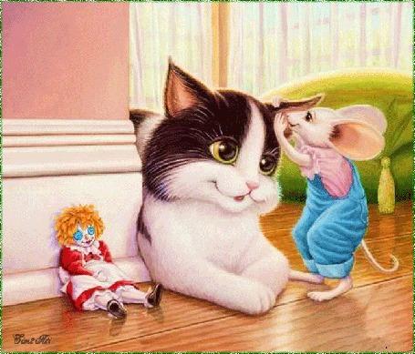 Анимация Мышка шепчет что то коту на ухо, by tim2ati