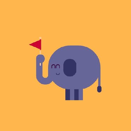 Анимация Шагающий слоненок с флажком