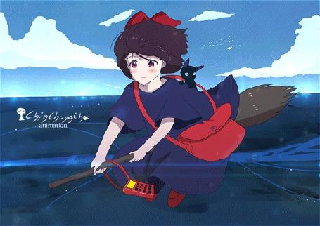 Анимация Kiki / Кики и Jiji / Джиджи из аниме Kikis Delivery Service / Ведьмина служба доставки, by chinchongcha