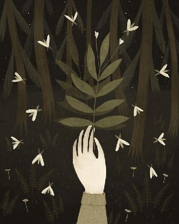 Анимация В руке человека листочек, над которым порхают мотыльки, художник Александра Дворникова