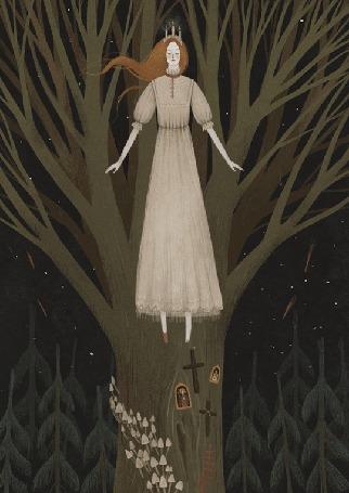 Анимация Девушка в короне с развевающимися волосами и платье, художник Александра Дворникова