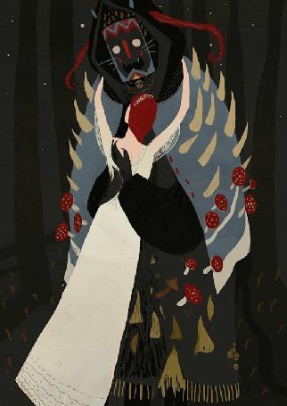 Анимация Девушка стоит перед чудищем со светящимися глазами, художник Александра Дворникова