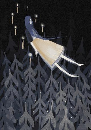 Анимация Девушка парит над лесом в окружении горящих свечей, художник Александра Дворникова