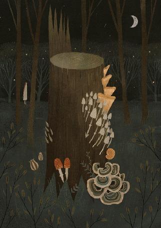 Анимация Светящиеся грибы на пне, художник Александра Дворникова