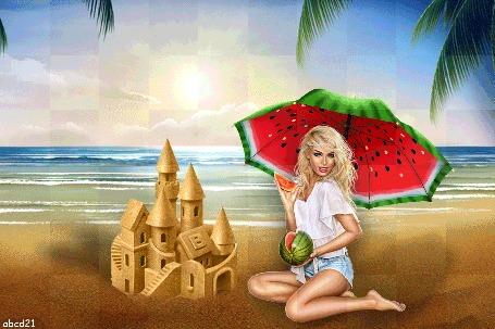 Анимация Девушка сидит на пляже под зонтом с расцветкой арбуза, by abcd21