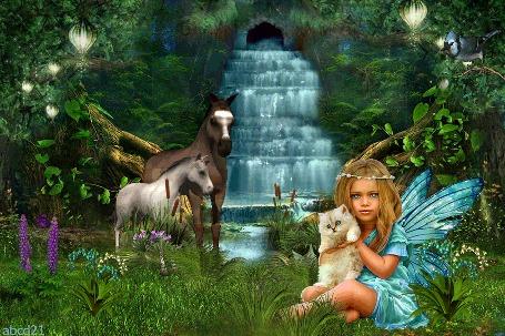 Анимация Девочка сидит на поляне, на фоне водопада и держит в руках котенка, by abcd21