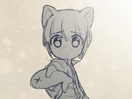 Анимация Нэко-девушка с короткой стрижкой предлагает рыбу другой нэко-девушке, by Joyfool